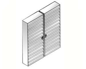 Double leaf acoustic louvred door - Type ACL1DD
